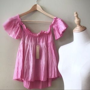 Andrea Durham Designs Tops - Pink off the shoulder Babydoll tunic top